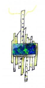 Boulder Opal Post design pendant with diamonds