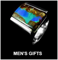boulder opal gents ring set in sterling silver