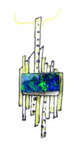 Boulder Opal Post design pendant with diamonds