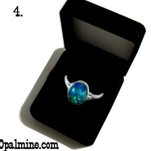 opal ring gift boxes-plain black velvet shaped ring box
