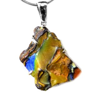 Boulder Opal rough stone pendant set with silver claws