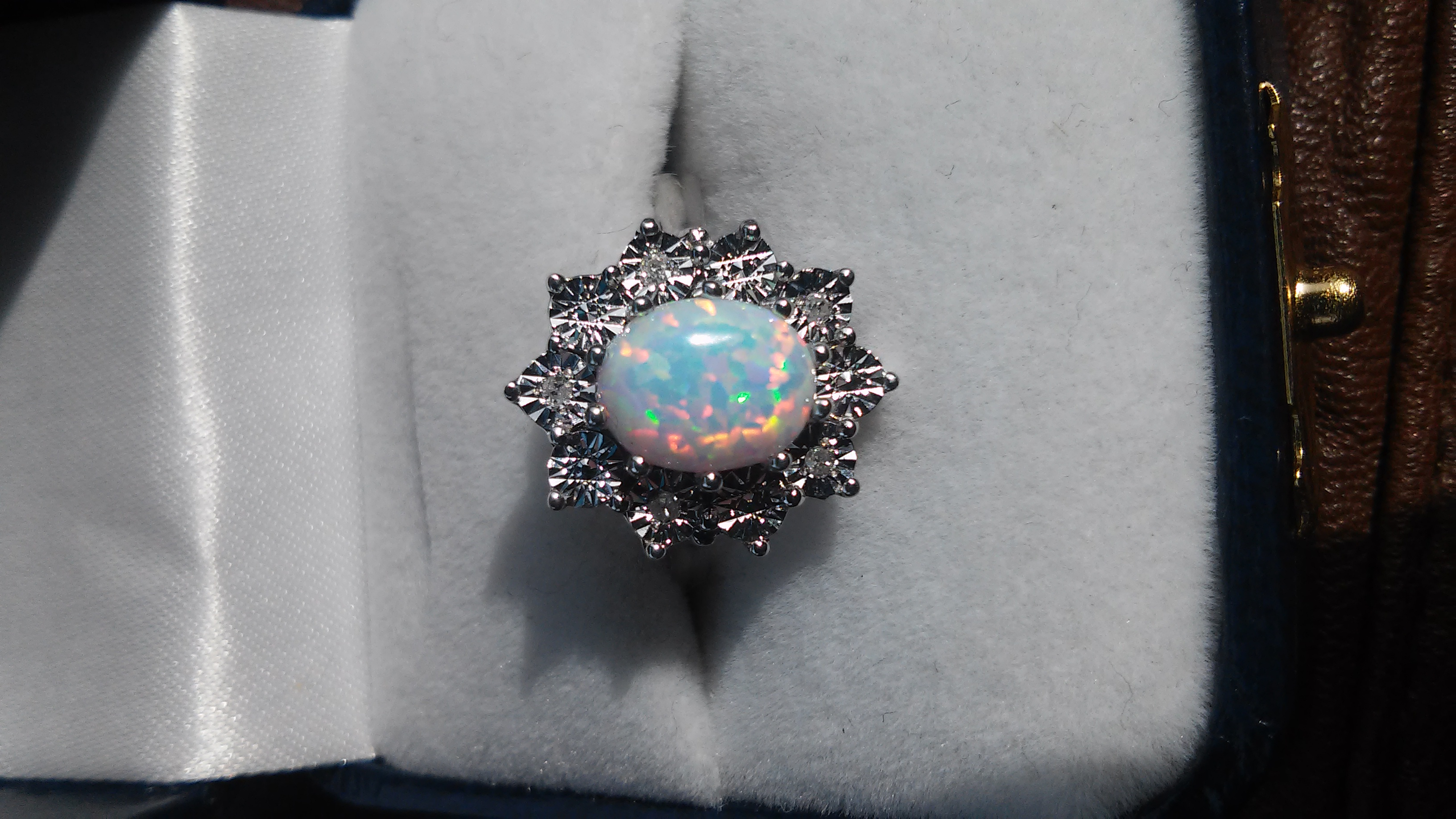 white with coral collections online shop gold genuine black tanzanite jewelry ring opal in stud