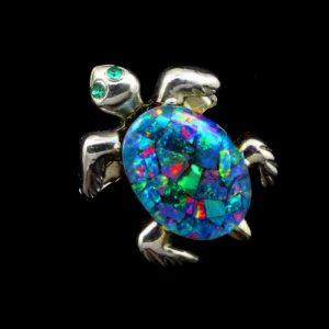 Opal Turtle Brooch-pendant