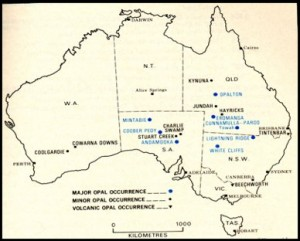 Opalmines-of-Australia-Map of the opal fields