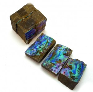 Boulder Opal split face specimens showing unusual pink green patterns
