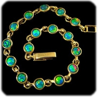 Opal Jewelry-bracelet with multiple round opal triplets