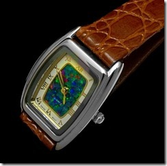 rectangle- mosaic opal face with leather band.
