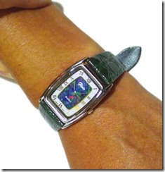 opal-watches-black leather band. mosaic face