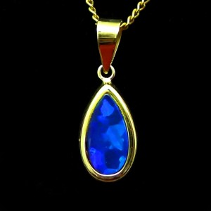 popular-opal-pendants-for-sale-blue opal drop in yellow gold