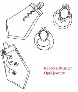Sketches of opal pendant and ring designs