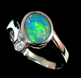 the-jewelry-australia-manufacturers-black opal ring with diamond-white gold